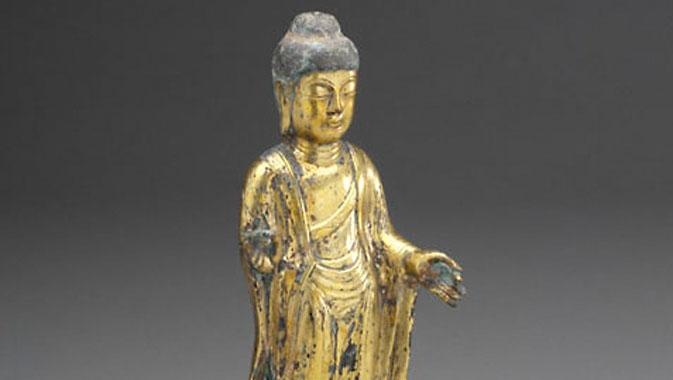 Statue bouddha (Bronze doré), Corée, 8th century AD.