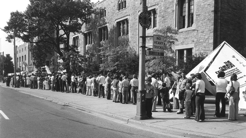 Public line-up down Queen's Park Ave. to see the new Chinese exhibition at the Royal Ontario Museum in Toronto.