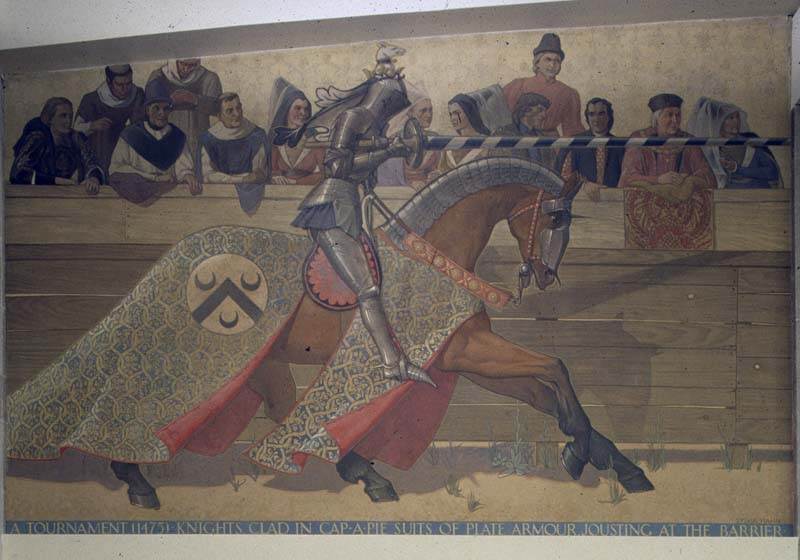 wall mural portraying a horse and knight at a tournament