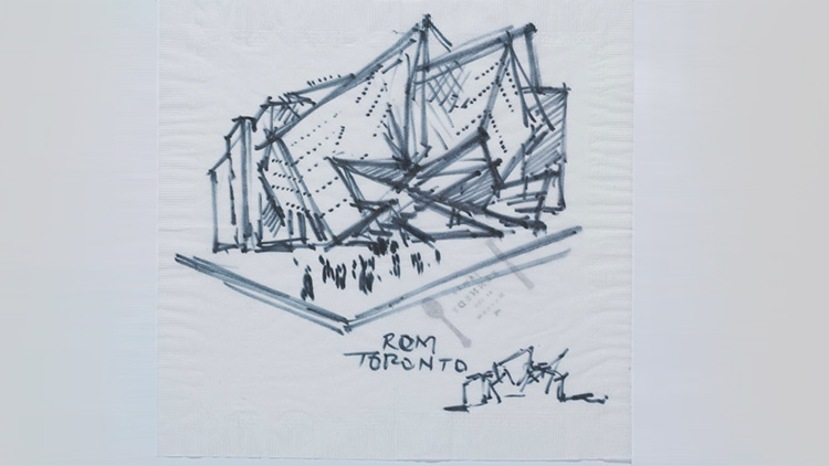 Sketch of building on napkin.