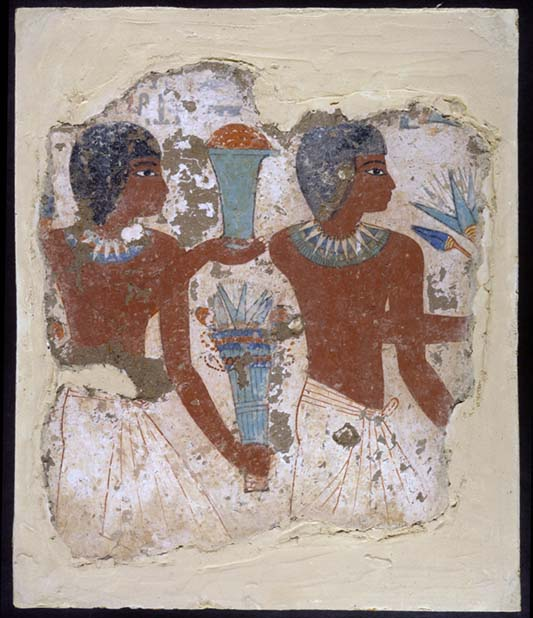 wall fragment depicting two Egyptians