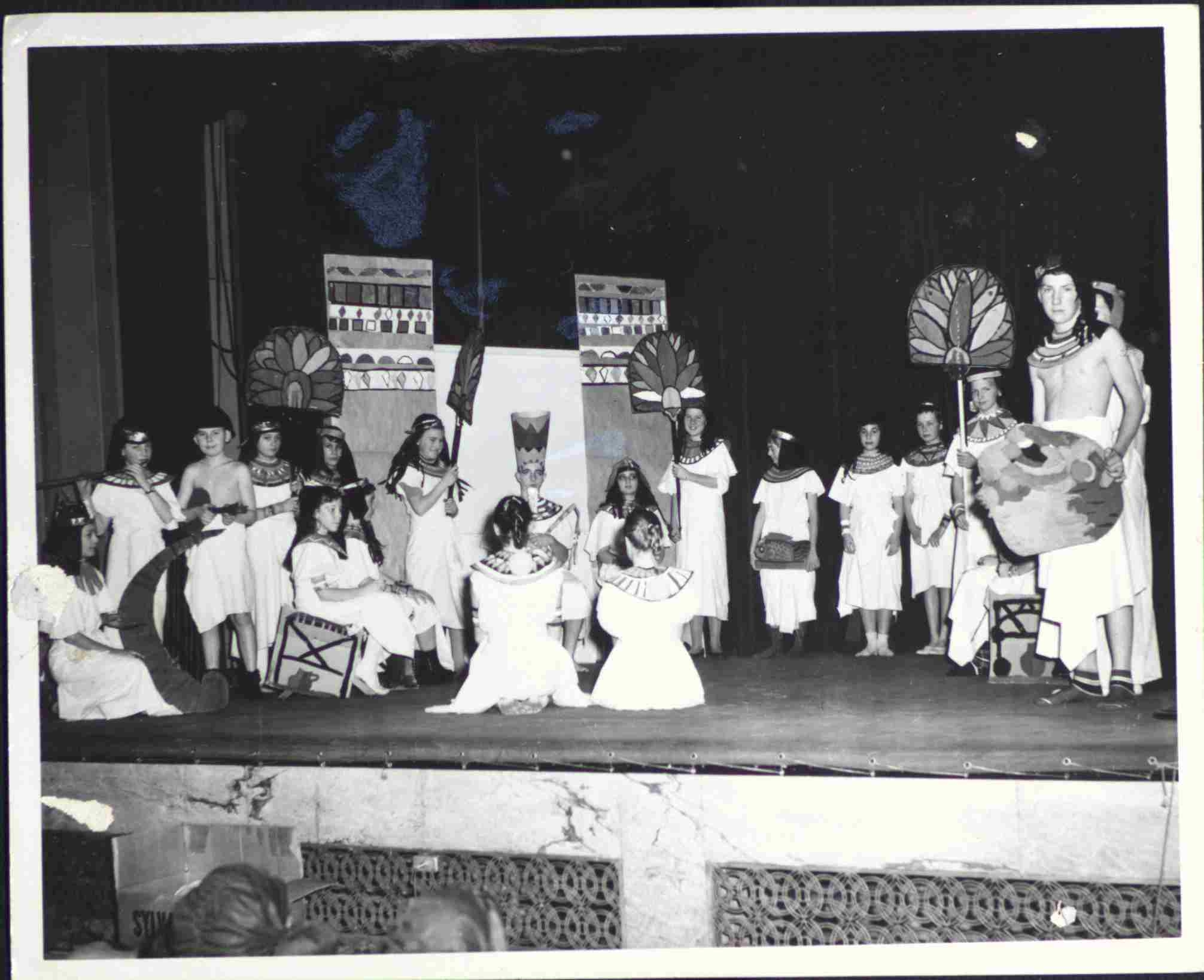 children in Egyptian costume on stage