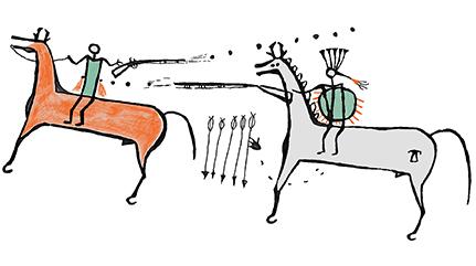 Illustration of a painted elk skin robe