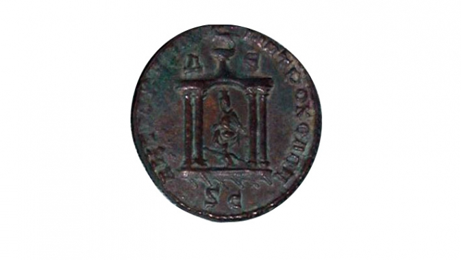 Statue of Tyche of Antioch in a shrine (Bronze coin of Trebonianus Gallus), AD 251 – 253, Mint of Antioch.