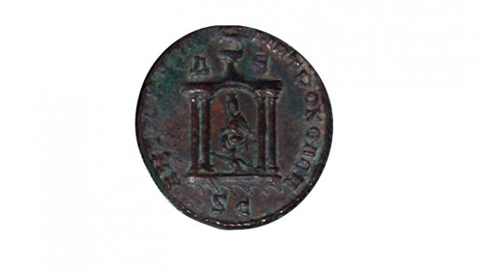 Statue de Tyché d'Antioche dans un temple (pièce de bronze de Trébonien Galle), 251-253, Monnaie d'Antioche