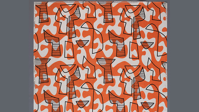 Abstract Fiberglas furnishing textile by Owens-Corning for Co-FabCo. c. 1950 – 1954. USA. This acquisition was made possible by the generous support of the Textile Endowment Fund.