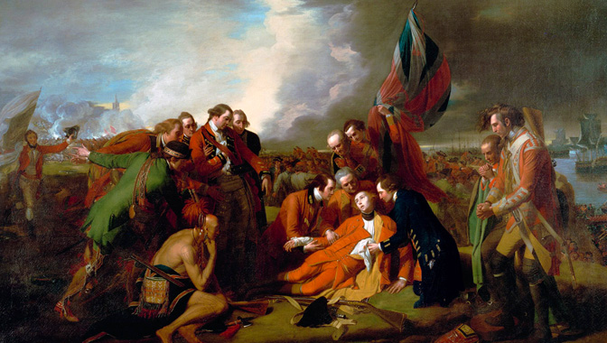 The Death of General Wolfe (oil on canvas), Benjamin West, 1776 with studio assistants, retouched 1806.