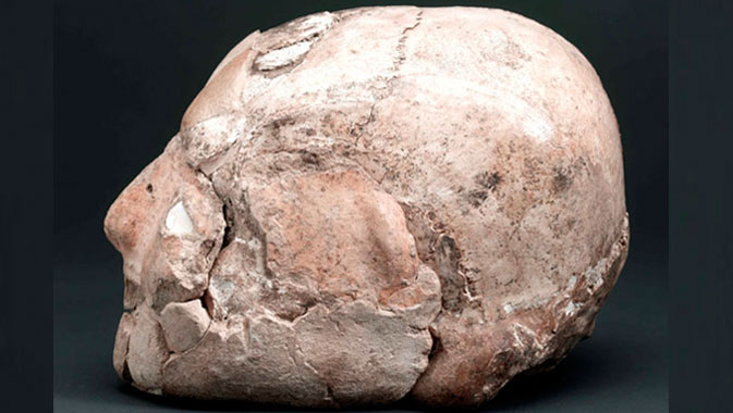 Plastered human skull, Jericho, West Bank. Pre-pottery Neolithic B Period, c. 8,000 BC.