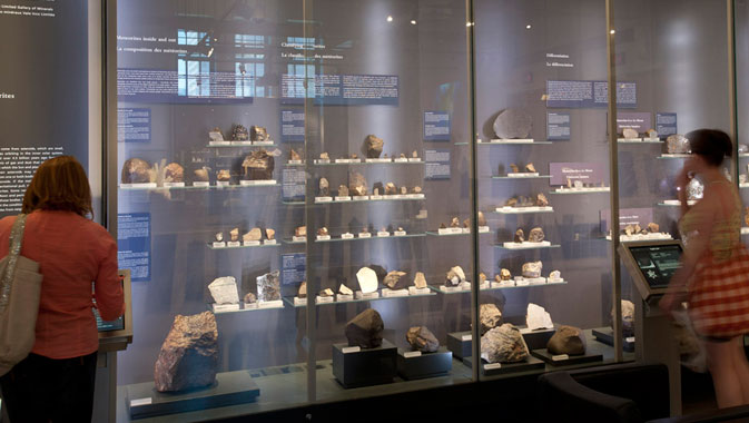 Over 100 meteorites are on display.