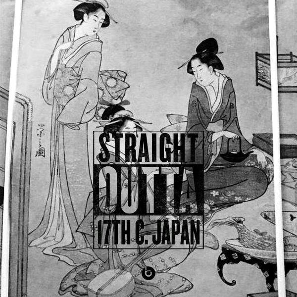 Rom meme. 17th century Japanese print of three women. Caption: Straight Outta 17th century Japan.