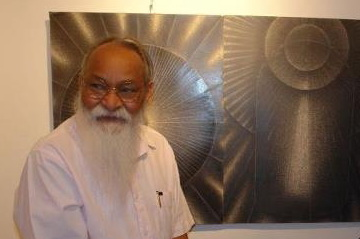 June 2012, Youngo Varma at his solo exhibition at Fourth Eye Gallery, Toronto. Photo Ali Adil Khan.