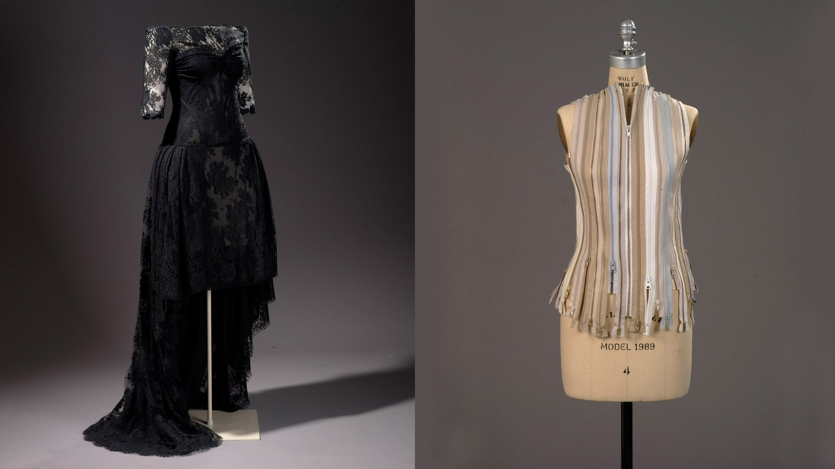 2012.25.1 Evening gown, McQueen, Alexander, London, Spring/Summer 2007 and  Zipper vest by Margiela 2011-038.12.