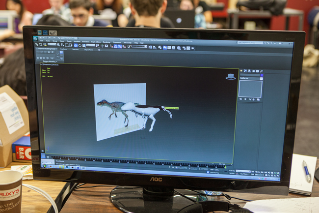 a screenshot of a dinosaur being 3D modelled for a game during the 2014 Game Jam