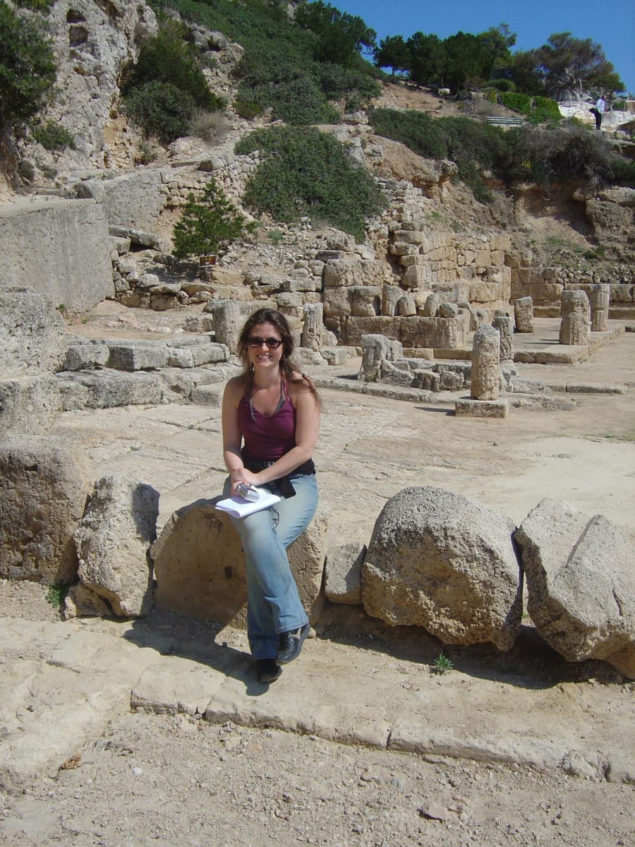 Kate Kooper, archaeologist, on a dig in Perachora, Greece.