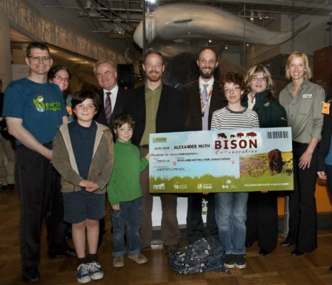 Alexander Muth, Family, and ROM Staff. Winner of the Find the Baby Bison Contest ceremony