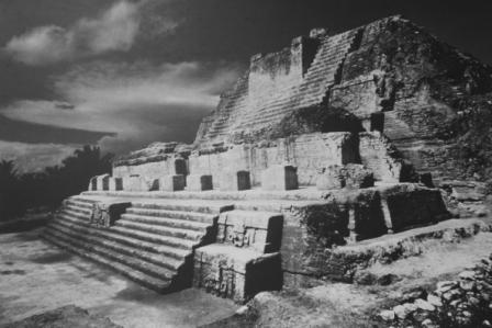 An archival photograph of a Mayan pyramid.