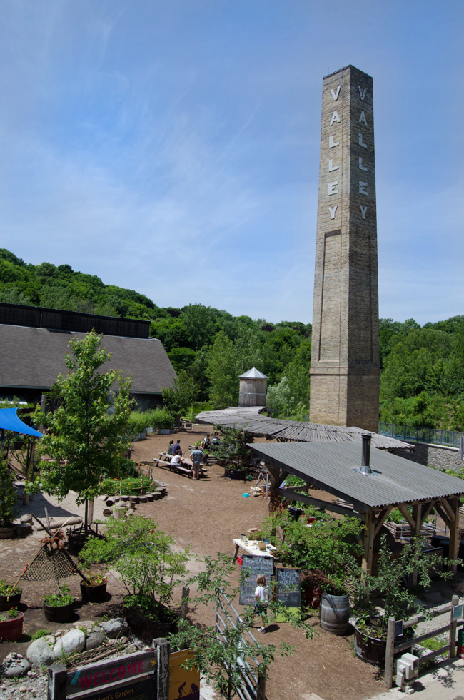 a view of the Evergreen Brickworks on a bright sunny day
