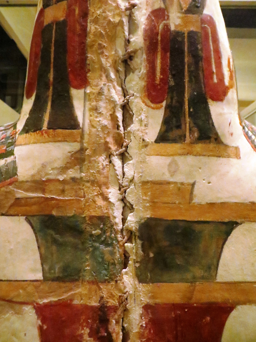 the back of a cartonnage coffin