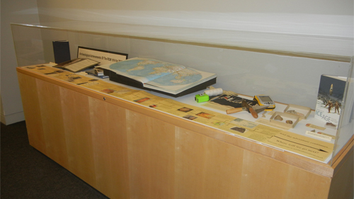 ROM Library display case with archaeological artifacts