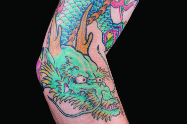Tattoo of a Japanese styled dragon on an arm