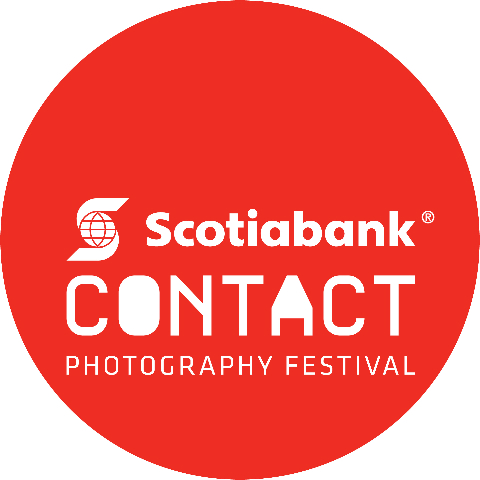 Logo for Contact Film Festival round red dot on white background