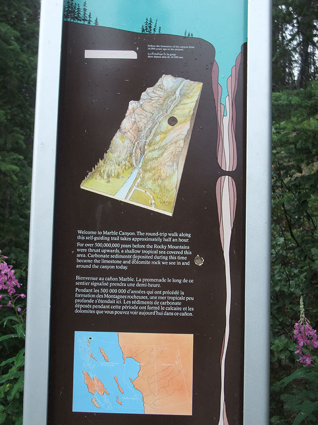 Information panel about the geology of the area for visitors to the trailhead at Marble Canyon