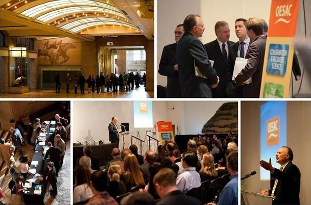 Montage of officials touring, meeting, and discussing species at risk at the ROM.