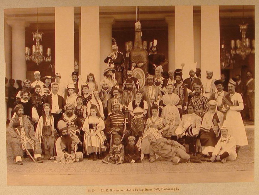 Sir Asman Jah and Fancy Dress Ball Guests, Bashir Bagh Palace, February 1890, Albumen print