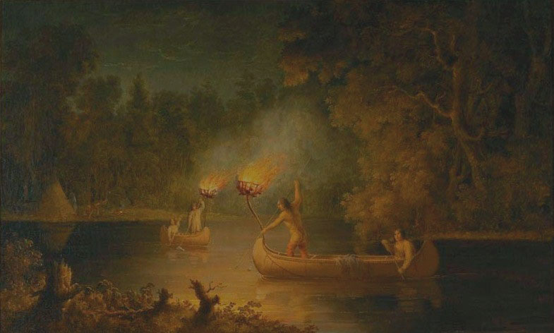 """Fishing by Torch Light"" by Paul Kane, 1849 – 1856 Menominee, Fox River, Wisconsin Oil on canvas; 912.1.10; Gift of Sir Edmund Osler"
