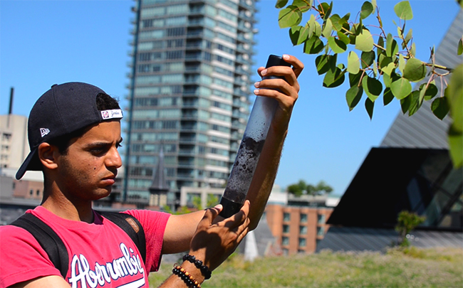 a male university student examines a tube of soil sampled from the ROM green roof