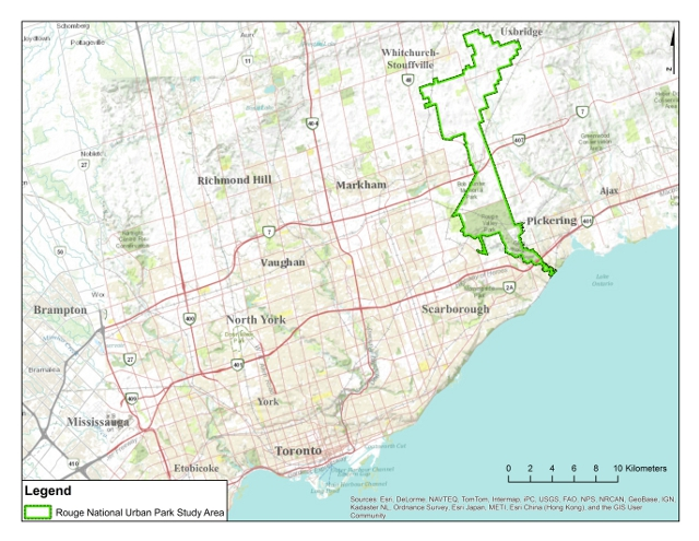 A Map showing the outline of Rouge National Urban Park within its context in the Greater Toronto Area. Image courtesy of Parks Canada