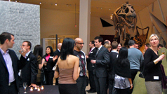 Patrons at an exclusive party at the museum.