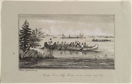 """Voyage down Lake Huron, in a Canoe"" Anna Jameson Proof etching, grey wash, heightened with gouache, and pen & ink ruled border, on gray wove paper, 1837-38 ROM960.176.10 Gift of Dr. Sigmund Samuel"