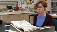 Janet Cowan in the paper conservation lab.