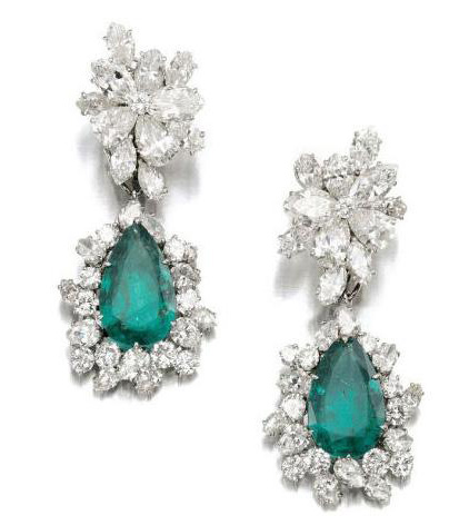 Pair of emerald and diamond earclips, Bulgari, 1964. Lot 659 which sold for $306,633. Photo credit: Sotheby's