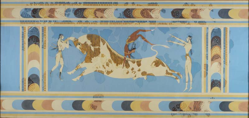 A reproduction of the 'Bull Leaper' fresco from the Palace at Knossos, Crete
