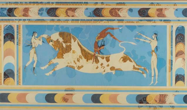 The 'Taureador' Fresco, from Knossos in a watercolour reproduction by Piet de Jong, based on reconstruction by Emile Gilliéron (père) (ROM image)