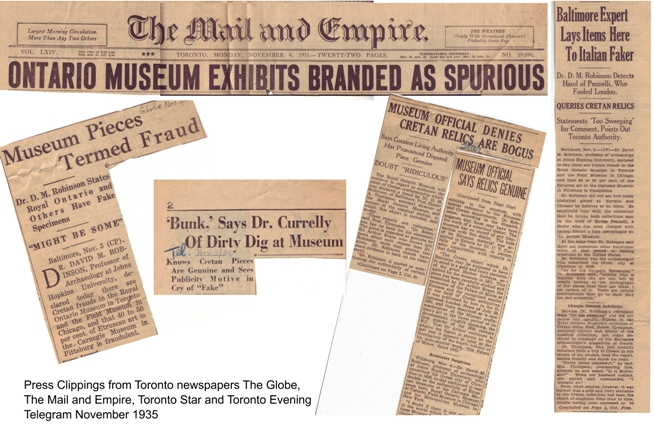 Clippings from Toronto newspapers, November 1935