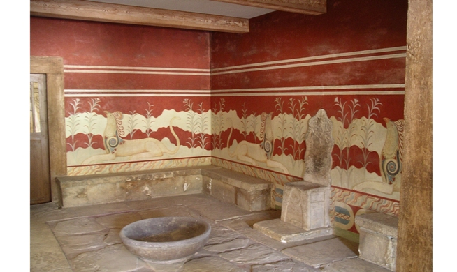 The 'throne of Minos' in the Throne-room at Knossos (photo K. Cooper, 2011)