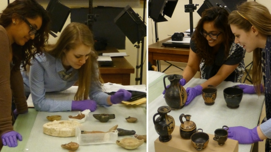 Lindsay & Natasha puzzling over which lamps to include, and much more excitied about the pots!