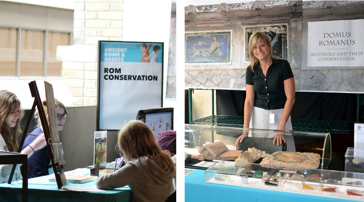 Laura Lipscei and volunteers at the Conservation table