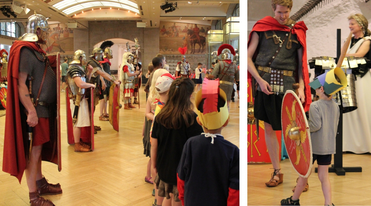 Roman soldier re-enactors teach children