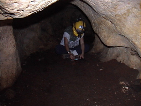 Inside a dark cave, Kay works under the light of her headlamp.