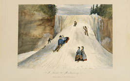 """Coming down is easier but more dangerous"" No.3 from A Picnic to Montmorenci Alice Killaly . Chromolithograph in brush, crayon, and pen on wove paper,Printed by Roberts & Reinhold, Chromo- 1868 Lith Published by George EROM960x276.94. Desbarats, Ottawa., Montreal"