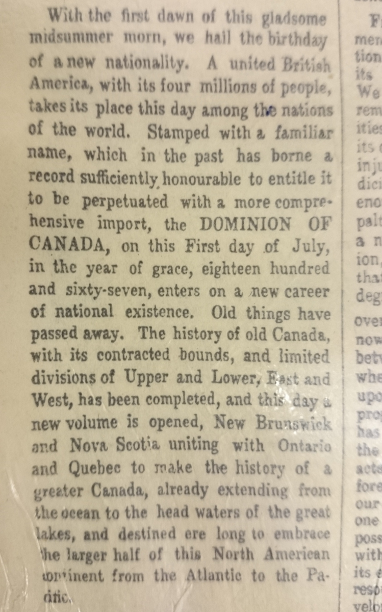 a close up of the first paragraph of the Confederation edition of The Globe newspaper