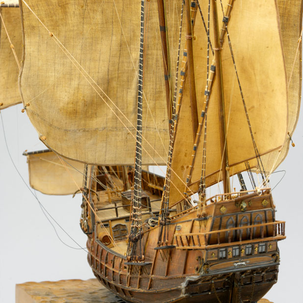 a close up view of a ship