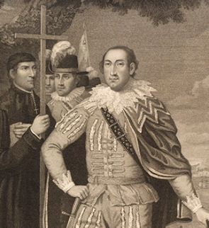 an engraving of Christopher Columbus