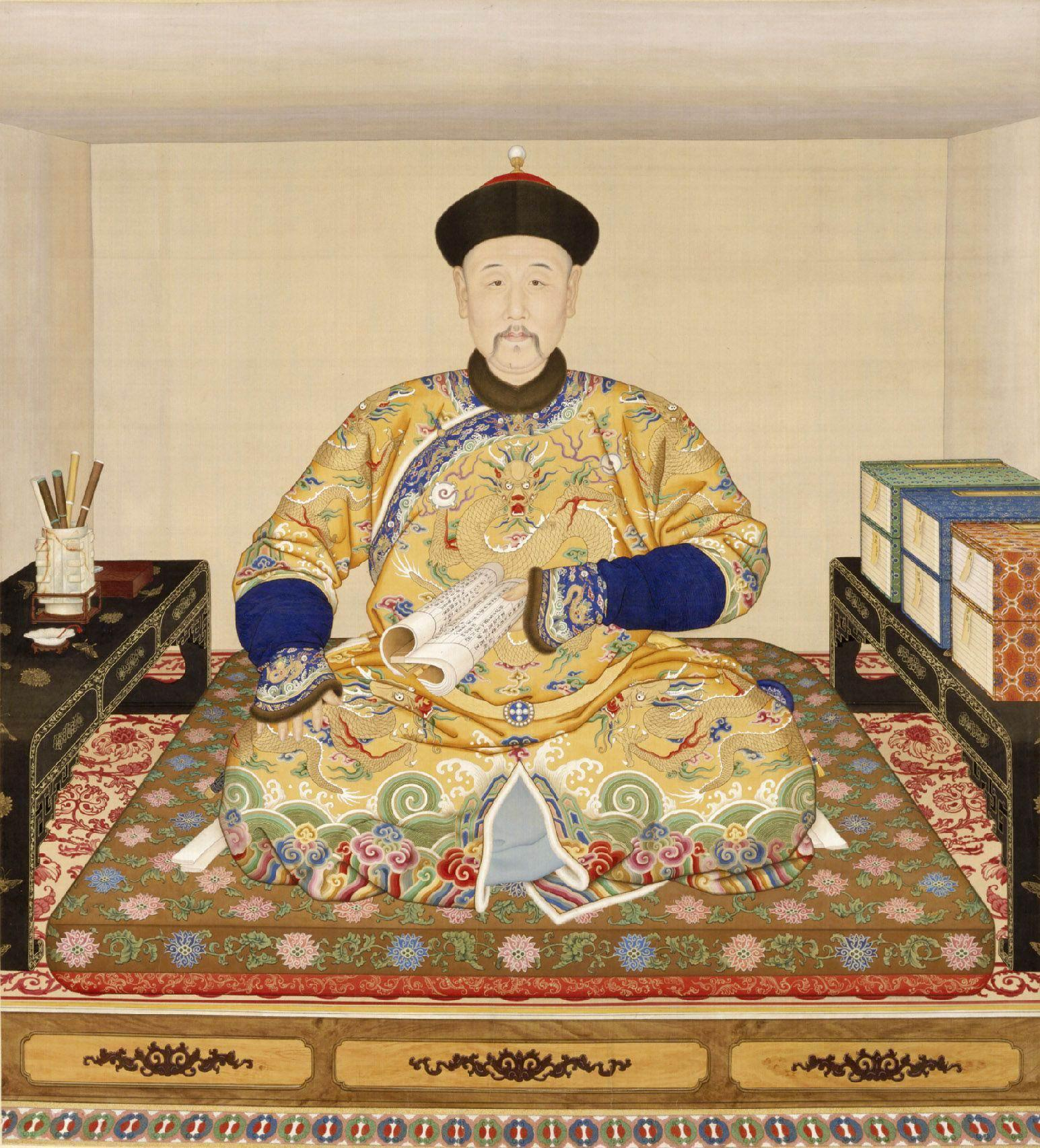Emperor Yongzheng wears a hat of red silk and sable