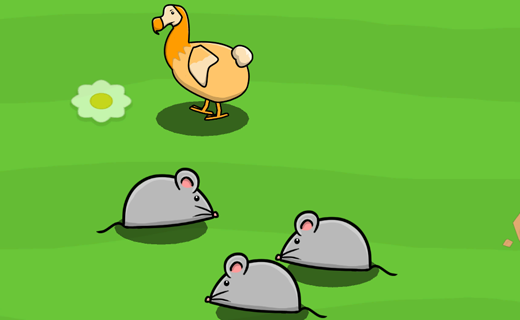 a dodo stands on a green field surrounded by rats