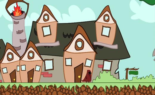 an animated character stands in front of houses